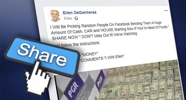 Is Ellen giving away money for sharing a post on Facebook? Two real